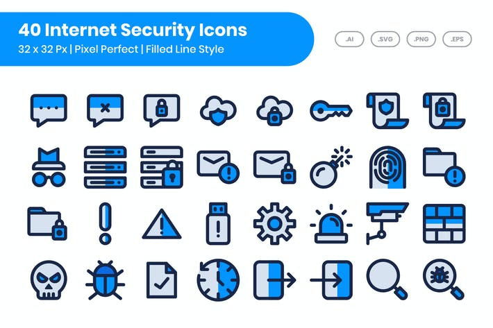 Thumbnail for 40 Internet Security Icons Set - Filled Line