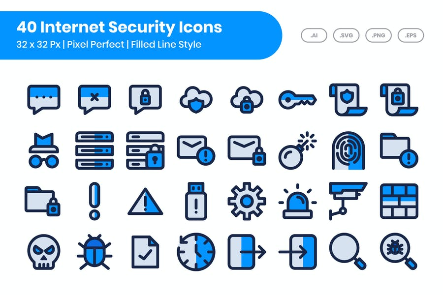 40 Internet Security Icons Set - Filled Line