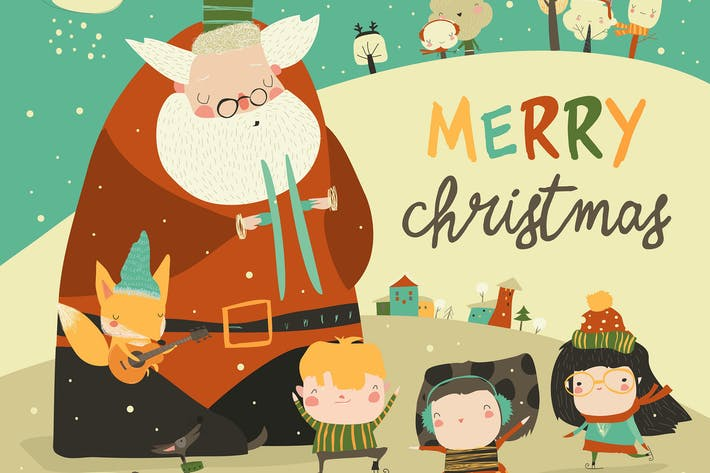 Thumbnail for Funny Santa Claus celebrating Chistmas with cute