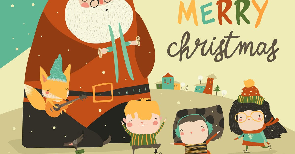 Download Funny Santa Claus celebrating Chistmas with cute by masastarus