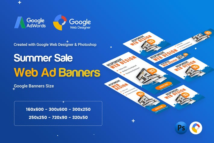 Thumbnail for Web Design Banner Ad - GWD & PSD