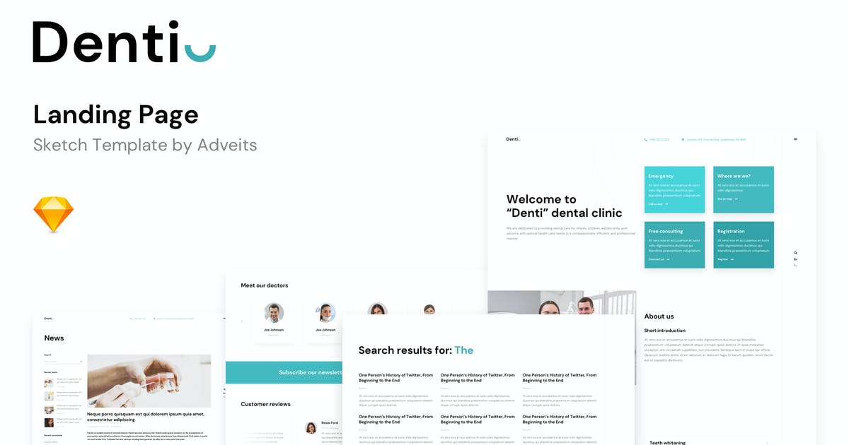Download Denti - Landing page Sketch Template by adveits