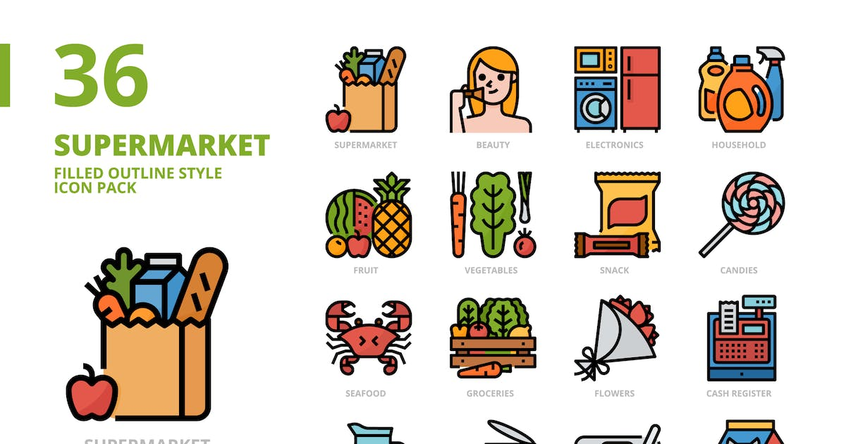 Download Supermarket Filled Outline Style Icon Set by monkik