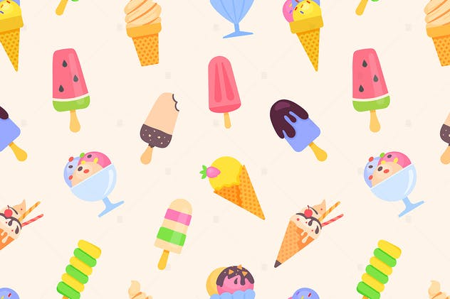 Ice cream - colorful flat design style pattern - product preview 1