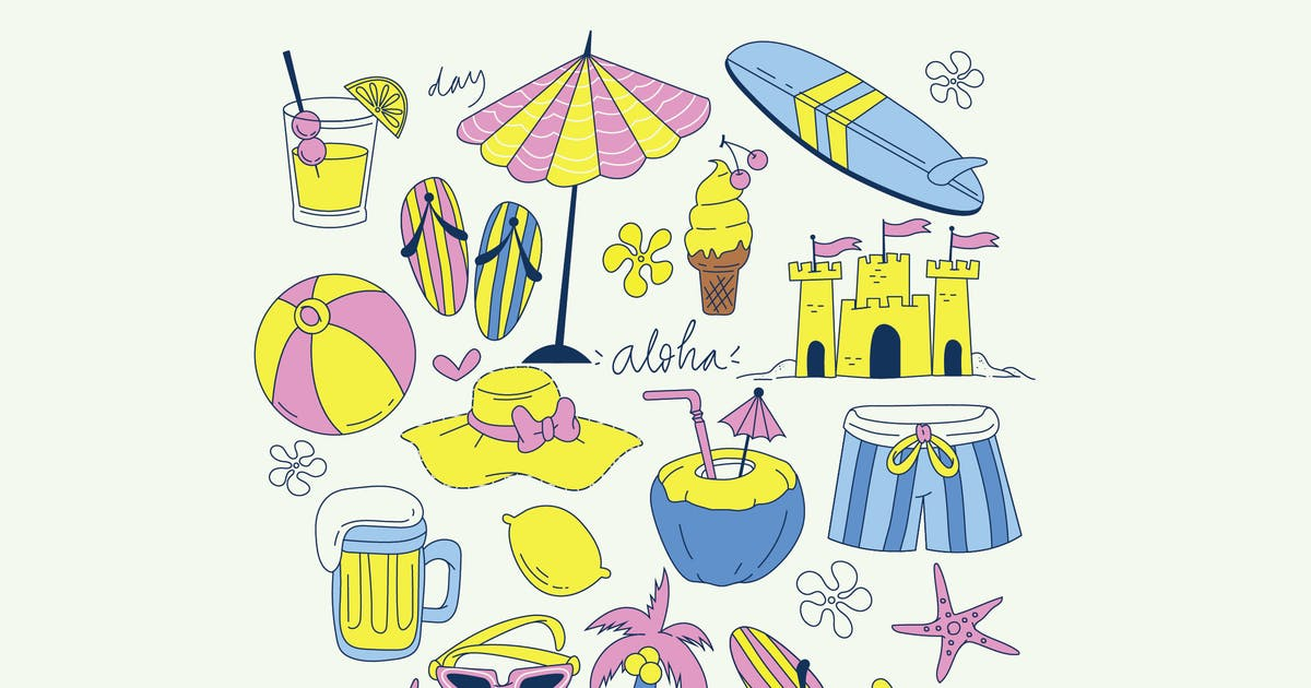Download Summer Illustration Set by Graphicapital
