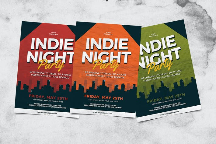 Cover Image For Indie Night Party Flyer
