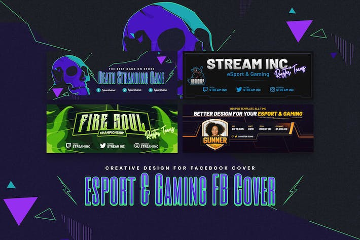 Thumbnail for eSport & Gaming Facebook Cover PSD Template