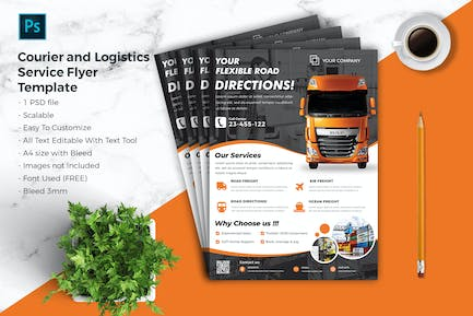 Courier & Logistic Flyer Template vol.08