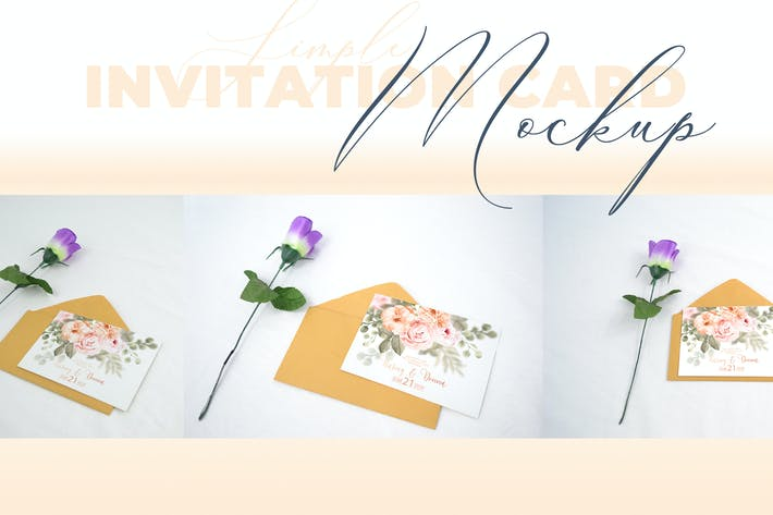Thumbnail for Realistic Wedding Invitation Card Mockup