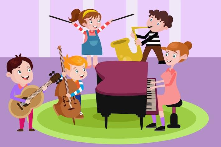Thumbnail for Leçon de musique pour les enfants - Illustration Vecteur