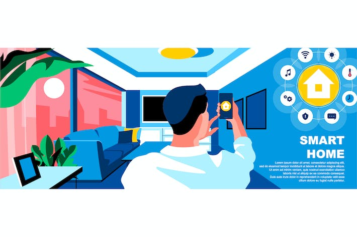 Thumbnail for Smart Home Flat Concept Landing Page Header