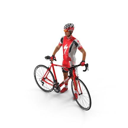 Radfahrer im roten Anzug mit Fahrrad