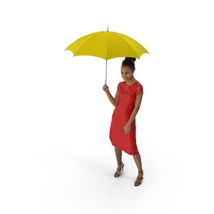 mujer de pie enestado paraguas