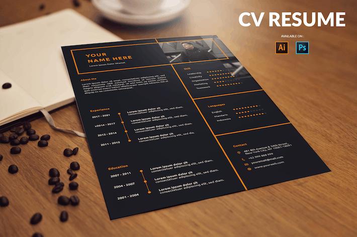 Thumbnail for CV Resume Dark