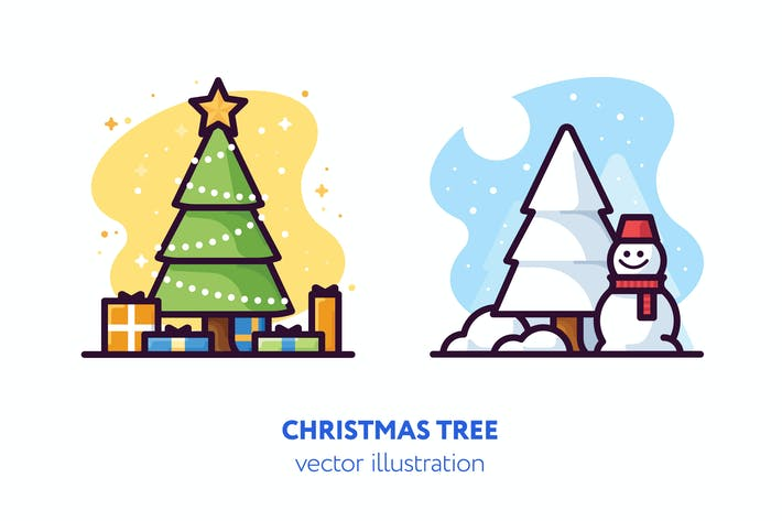 Thumbnail for Christmas trees vector illustration