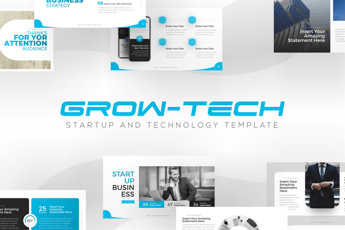 Cover Image For Grow-Tech Startup PowerPoint Template
