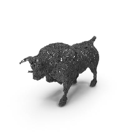 Wire Bull Skulptur