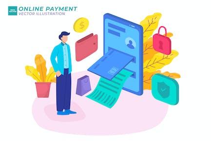 Ilustración isométrica de pago en línea