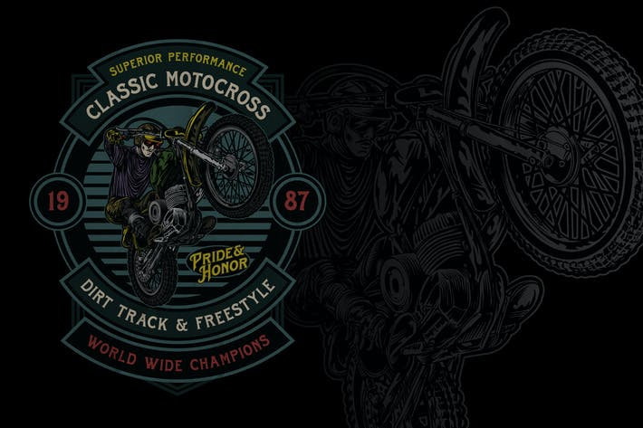 Thumbnail for Classic Motocross Badge Logo Volume 2 No.4