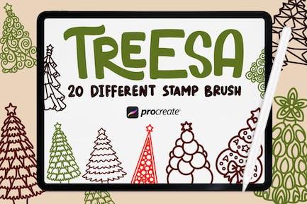 Treesa - 20 Stamp Brush Procreate