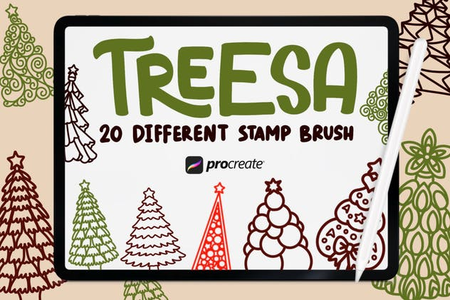 Treesa - 20 Stamp Brush Procreate