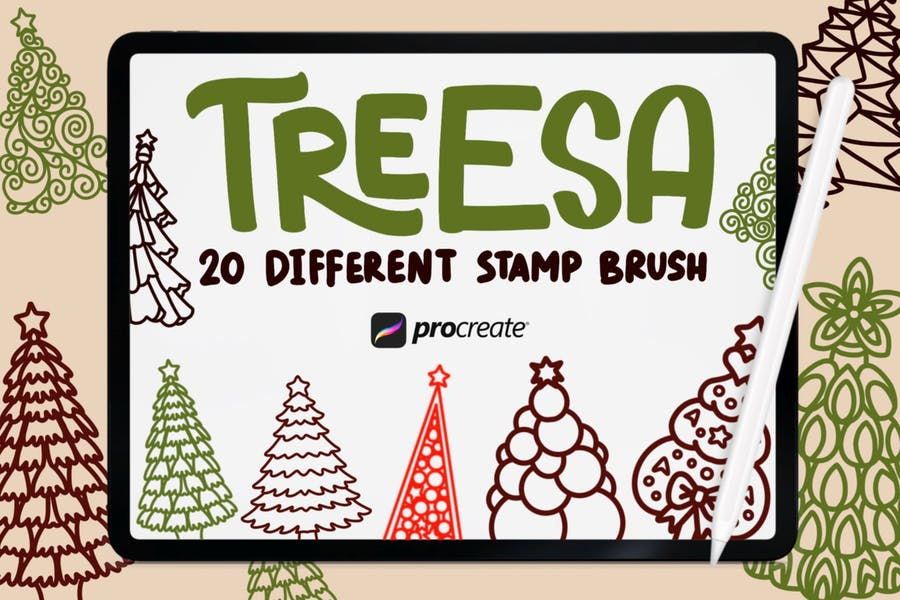 Treesa - 20 штамп кисти Procreate