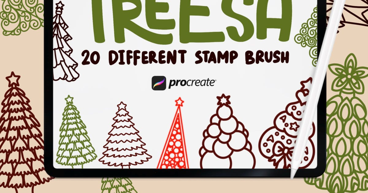 Download Treesa - 20 Stamp Brush Procreate by garisman