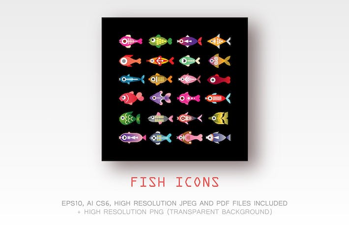 Thumbnail for Fish vector colorful icons
