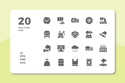 20 Pollution Icons (Solid)