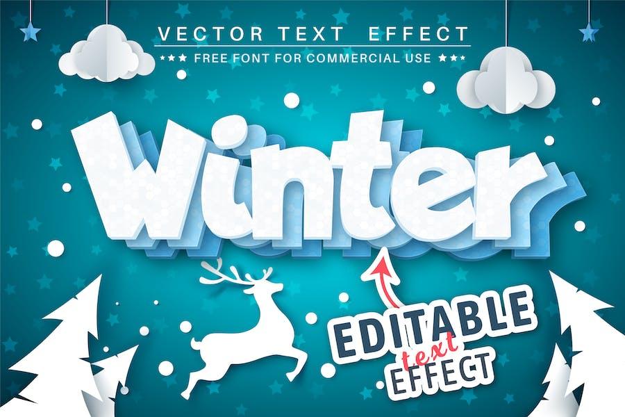Зима - редактируемый текстовый эффект, стиль шрифта