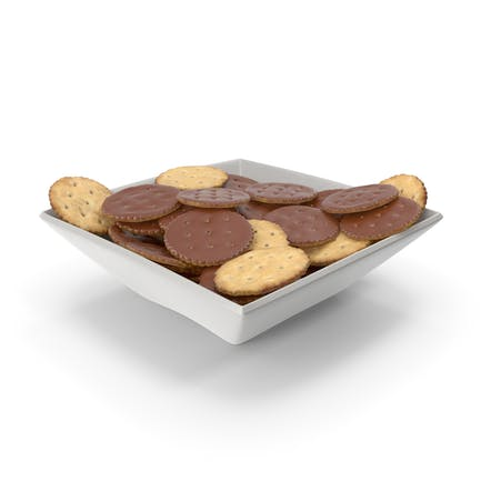 Square Bowl with Chocolate Covered Circular Crackers