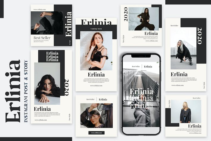 Erlinia - Instagram Post & Story Templates