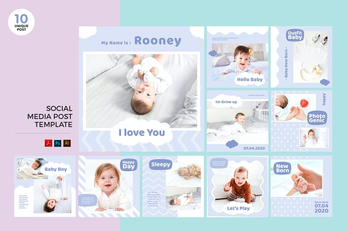 Thumbnail for Newborn Baby Social Media Kit PSD & AI Template