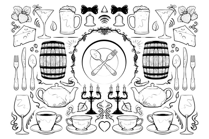 Thumbnail for Hand Drawn Cafe Vector Illustration Elements