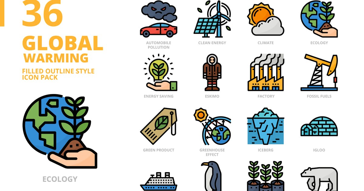Download Global Warming Filled Outline Style Icon Set by monkik