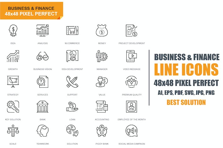 Thumbnail for Simple Set Business and Finance Line Icons