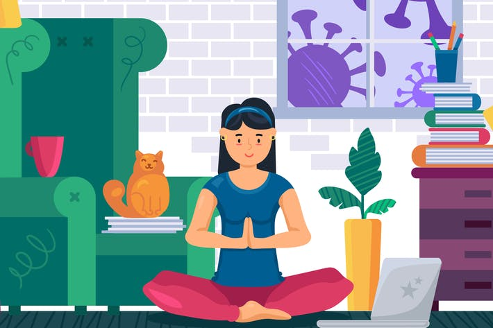 Stay Home And Do Yoga Illustration