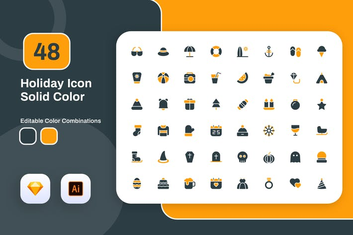 Thumbnail for Holiday Solid Color Icon Set