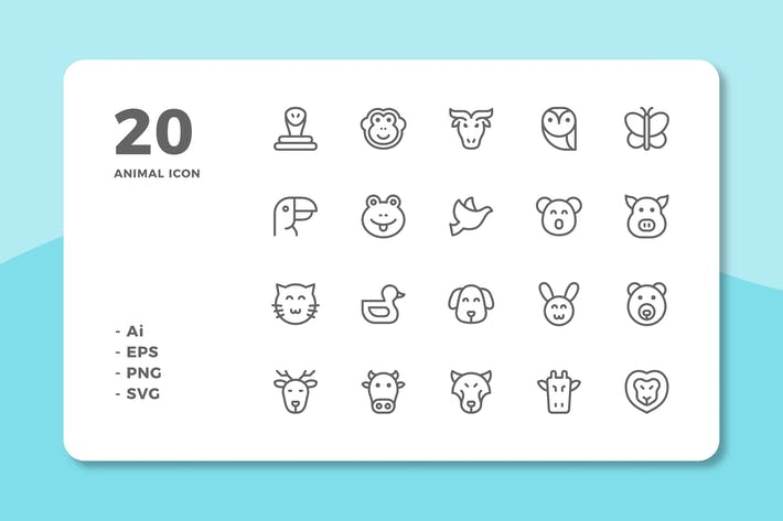 Thumbnail for 20 Animal Icons (Line)