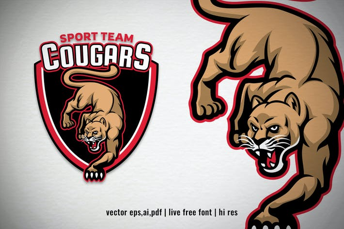 Cougar mascot sport and esport logo