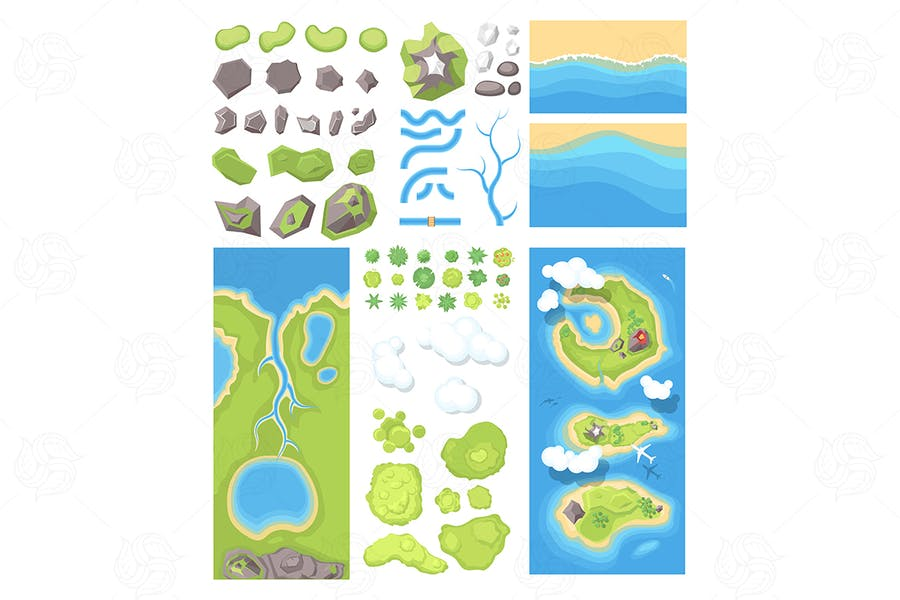 Natural landscape - set of elements
