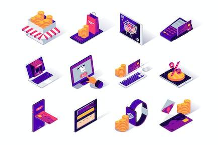 E-commerce Platform Isometric Icons Set
