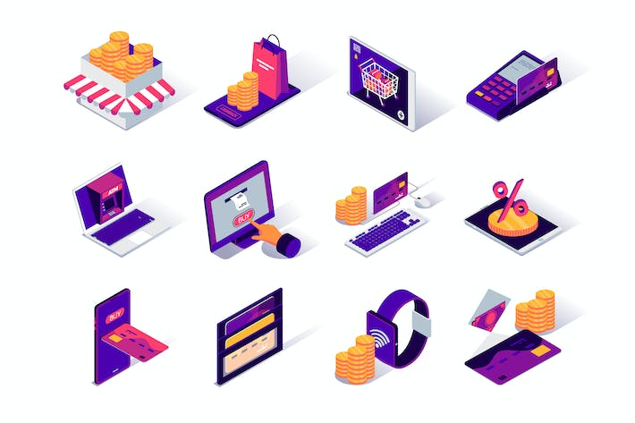 Thumbnail for E-commerce Platform Isometric Icons Set