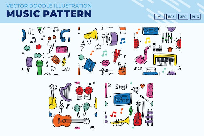 Cover Image For Music doodle pattern