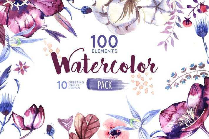 Thumbnail for Watercolor Flowers Pack