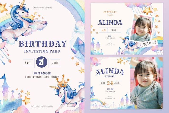 Thumbnail for Unicorn theme birthday invitation card