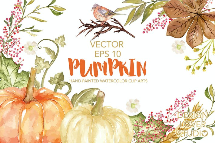"Cover Image For Vector Watercolor ""Pumpkin"" clip arts"