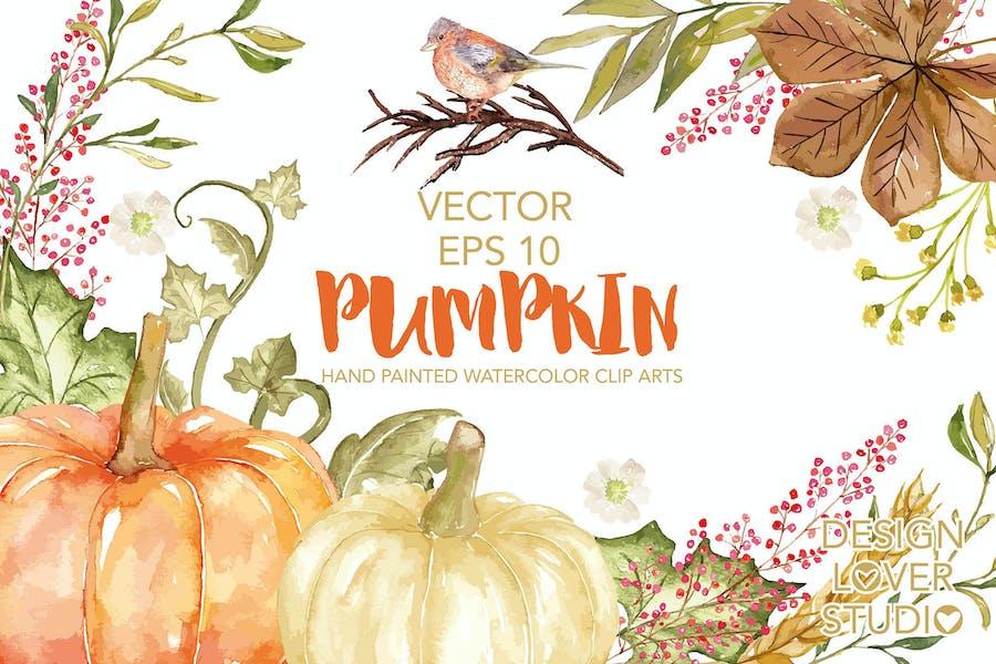 "Vector Watercolor ""Pumpkin"" clip arts"