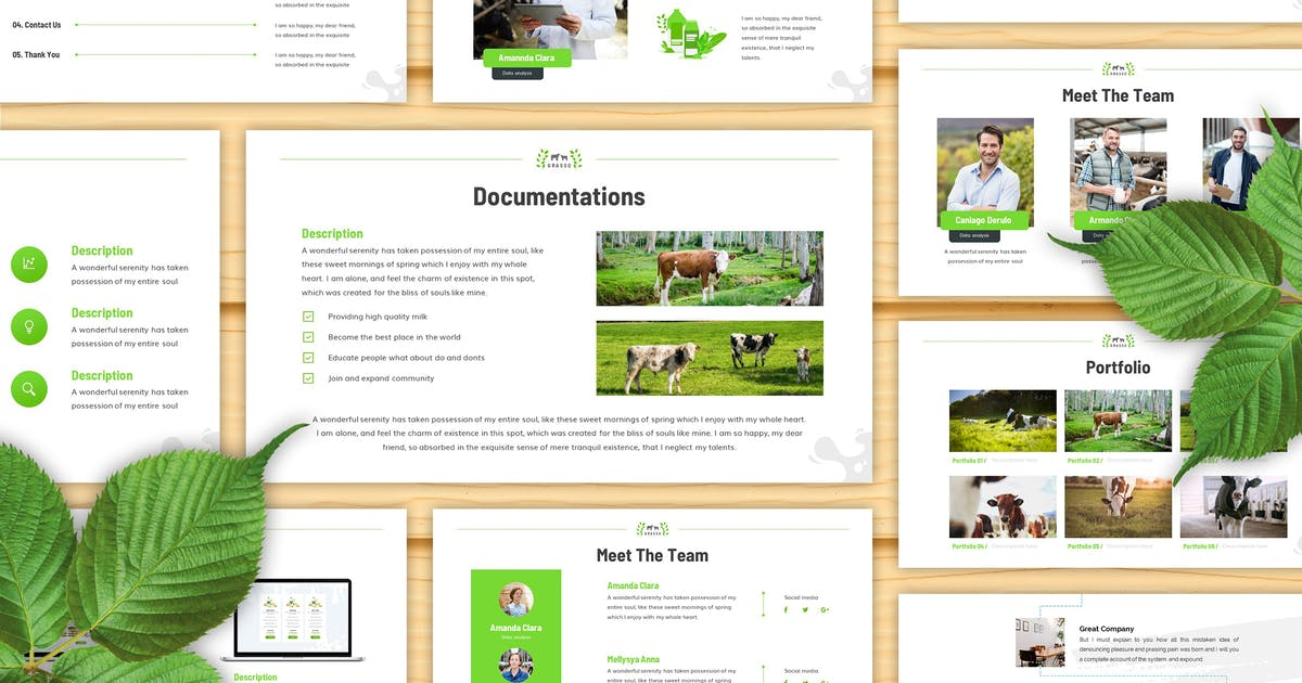 Download Grasso - Dairy Farm Keynote Template by SlideFactory