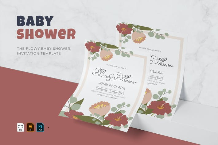 Thumbnail for Flowy | Baby Shower Invitation